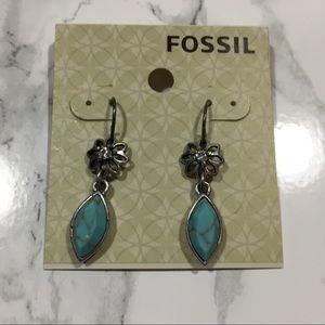 New Native Sun Flower & Turquoise Fossil Earrings